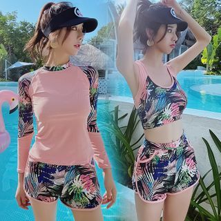 Salanghae - Set: Long Sleeve Printed Rashguard + Printed Bikini Top + Swim Shorts