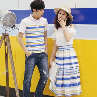 NoonSun - Couple Matching Striped Short-Sleeve Polo Shirt / Cold Shoulder Short-Sleeve Blouse / Striped Midi A-Line Skirt / Set