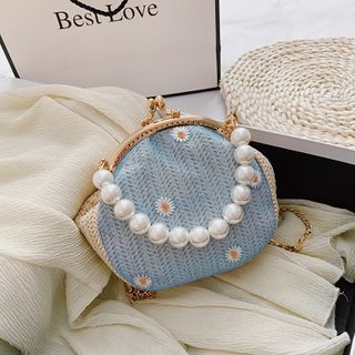 Auree - Faux Pearl Floral Embroidered Woven Handbag