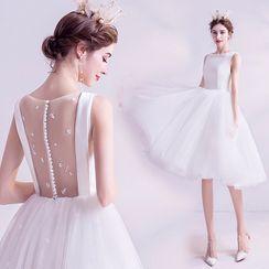 Angel Bridal - Mesh Panel Sleeveless Short Prom Dress