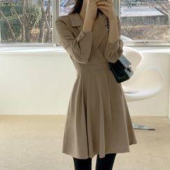 Yunhouse - 纯色A字衬衫连衣中裙