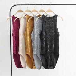 Hollahop - Sleeveless Velvet Bodysuit