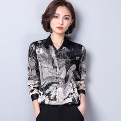 Allury - Stand-Collar Long-Sleeved Floral Print Slim Blouse