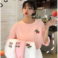 Pachelbel - Embroidered Fruit Elbow-Sleeve T-Shirt