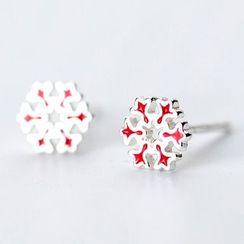A'ROCH - 925 Sterling Silver Snowflake Stud Earring