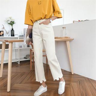 Sisyphi - Distressed-Hem Straight-Cut Jeans