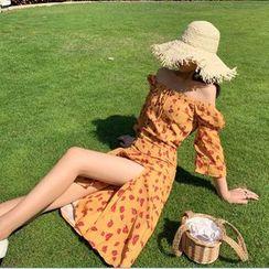 Glaypio - Elbow-Sleeve Floral A-Line Midi Dress