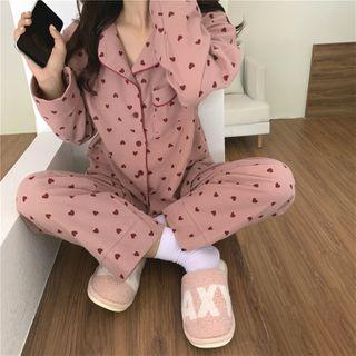 Tanee - Pajama Set: Heart Printed Long-Sleeve Loose-Fit Top + Pants