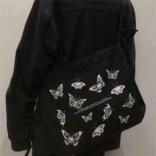 Porstina - Butterfly Print Canvas Crossbody Bag