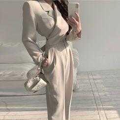 OUREA - 腰结带短款外套 / 直筒西装长裤