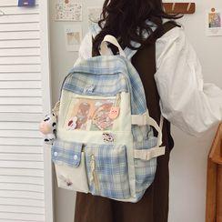 KAMELIS - Plaid Panel Nylon Backpack