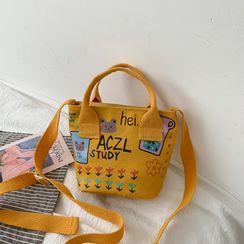 Lizzy - Bear Print Canvas Crossbody Bag