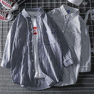 Dragondra - 条纹七分袖衬衫