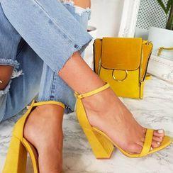 Monde - Leopard Print Ankle-Strap Chunky-Heel Sandals