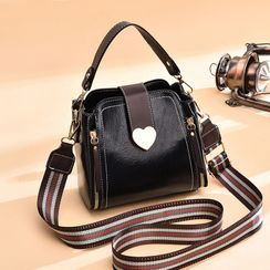 Aquilegia - Faux Leather Top Handle Crossbody Bag