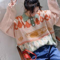 Oykot - Polo Collar Jacquard Sweater
