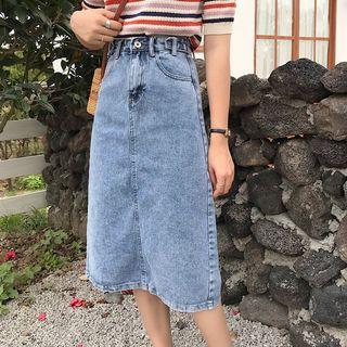 Shopherd - A-Line Midi Denim Skirt