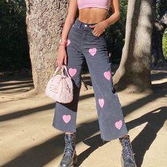 Genrovia(ジェンロビア) - Heart Print Wide Leg Jeans