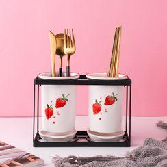 Heysoo - 草莓印花陶瓷餐具沥水架