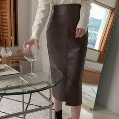 Cherryville(チェリーヴィレ) - Slit-Front Faux-Leather Midi Skirt