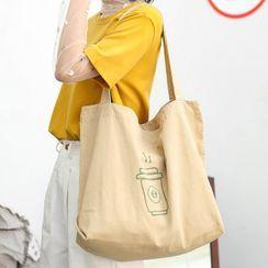 Ms Bean(ミズビーン) - Printed Canvas Tote Bag