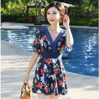 Higun  - Flower Print Short-Sleeve Swim Dress / Goggles / Swim Cap / Swim Shorts / Set
