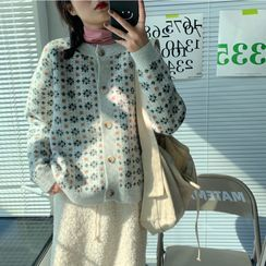 Moon City - Long-Sleeve Turtleneck T-Shirt / Floral Patterned Cardigan