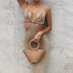 Alizio - 幼肩带镂空长塑身连衣裙