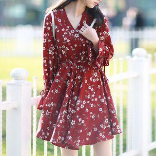 Ashlee - Floral Print Short-Sleeve V-Neck Chiffon Dress