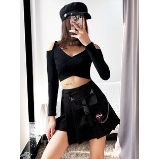 Shira - Pleated Wrap Mini Skort with Pouch
