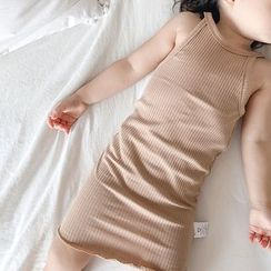 MOM Kiss - Baby Halter-Neck Ribbed Dress