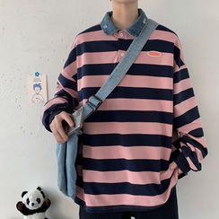 Breeson - 马球衫领条纹套衫
