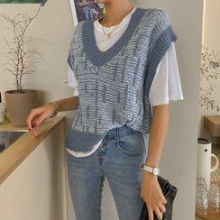 DABAGIRL - V-Neck Ringer Knit Vest