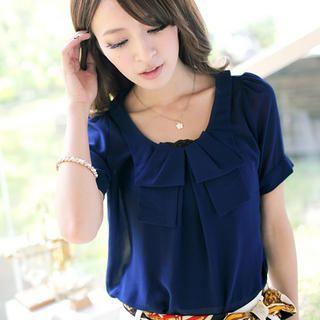 Tokyo Fashion - Short-Sleeved Layered Collar Top
