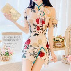 MePanda - Set: Short-Sleeve Floral Embroidered A-Line Mini Qipao Dress + Shorts