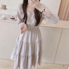 Leoom - V-Neck Long-Sleeve A-Line Dress