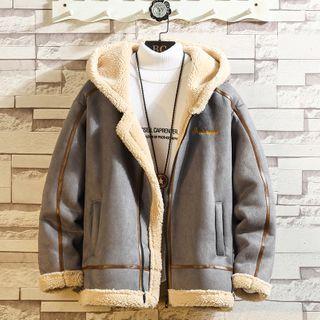 Sherina - Contrast Trim Faux Shearling Coat