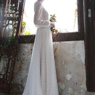 Yikkus - Long-Sleeve See-Through Dotted Dress