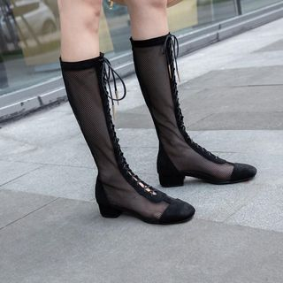 Pretty in Boots - Mesh Lace Up Tall Boots