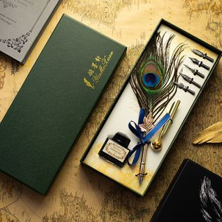 Lithronic - Set: Peacock Feather Fountain Pen + Ink + Interchangeable Nib