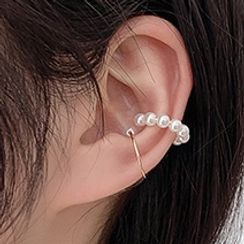 Bmuse - Faux Pearl Cuff Earring