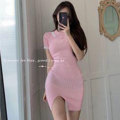 ever after(エバーアフター) - Slit-Hem Knit Mini Polo Dress