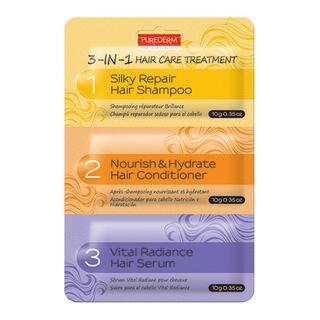 PUREDERM - 3-in-1 Hair Care Treatment: Silky Repair Hair Shampoo 10g + Nourish & Hydrate Hair Conditioner 10g + Vital Radiance Hair Serum 10g