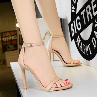 TREL(テレル) - Faux-Suede High-Heel Sandals