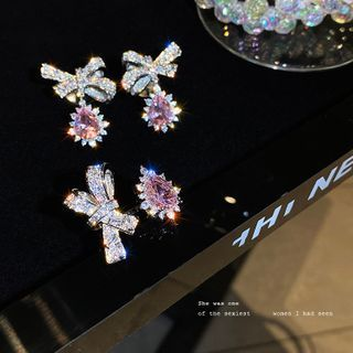 Pop Lop - Rhinestone Bow Drop Earring / Ring / Set