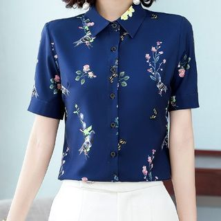 In the Mood - Short-Sleeve Floral Print Chiffon Shirt