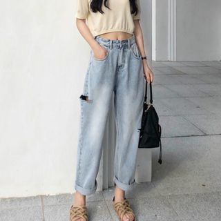 Isaaca - Cropped Distressed Wide-Leg Jeans