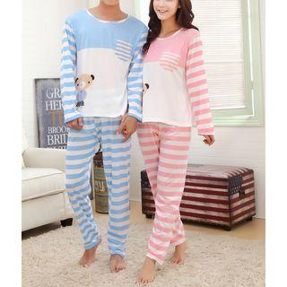 Victorinaka - Pajama Set: Couple Matching Long-Sleeve Striped T-Shirt + Pants
