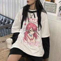 RONIN - Mock Two-Piece Long-Sleeve Printed T-Shirt