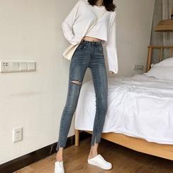 Newkoou - 高腰窄身牛仔裤